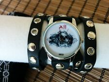 Skull Leather wrist Watch wide band Women Men ROCK Naughty Artistic