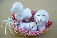 3 White Puppies Miniature Dogs in a Basket Figurine collectible Puppy