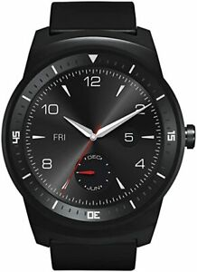 LG - G Watch R - Android Wear - Steel Case w/ Leather Strap - Black