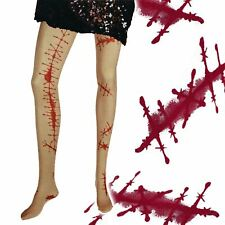 New Halloween blood stained tights fancy dress scar zombie scary ladies one size
