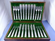 MOTHER OF PEARL HANDLE FISH SET 6, SALAD DESSERT SET 6, 24pc BY 2 ENGLISH MAKERS