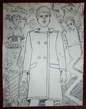 Maurice Rapin encre sur papier signée 1967 surréalisme magritte Dors lettrisme