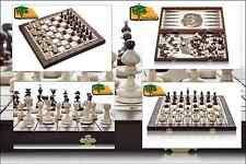 3 in 1 PEARL - 40cm / 15.7in Handcrafted Wooden Chess Set Backgammon Checkers