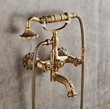 Antique Brass Swivel Spout Veins Bathtub Basin Mixer Faucet Hand Shower Sink Tap
