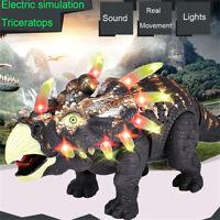 Gehende Triceratops-Dinosaurier-Abbildung mit Lichtklängen scherzt Spielzeug