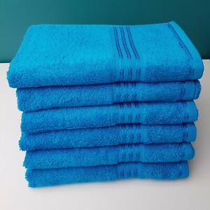 Hand Towels Egyptian Combed Cotton Pack Of 6  Teal Blue Kitchen Bathroom Towel