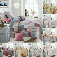 3 Piece Patchwork Bedspread Throw Quilted Bedding Comforter Set with Pillow Sham