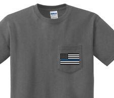 Pocket T-shirt Blue Lives Matter Flag Thin Blue Line Shirt Clothing Police Gifts