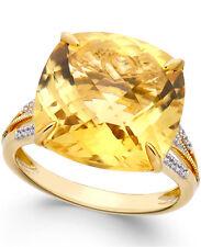 Citrine and Diamond Split Shank Ring in 14k Gold