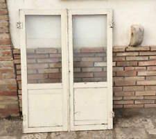 Antiche ante in legno massello con vetri per armadio a muro libreria porta