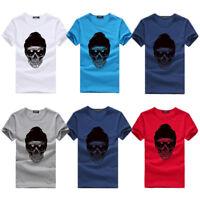 Men Boy Summer Tees Shirt Blouse Tops Short Sleeve Cotton Casual Loose Blouse