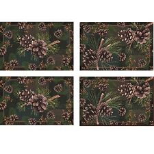Rivers Edge 4 Piece Pinecone Placemat Set Jacquard Fabric Outdoor Theme New