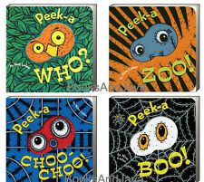 Peek A Who, Peek A Boo, Peek A Zoo, Peek A Choo Choo 4 Board Book Set NEW