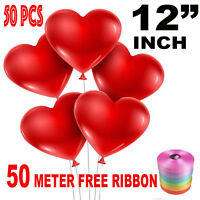 "50 PCS 12"" Red Heart Love Latex Balloons Wedding Birthday Party Valentine"