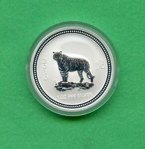 AUSTRALIA ~ 2007-2010 ~ LUNAR YEAR OF THE TIGER ~ 1oz .999 SILVER ~ WITH CAPSULE