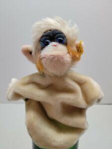 STEIFF Mungo Monkey Hand Puppet ~ 1958-78 Vintage German Toy Mohair Glass Eyes