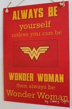 Wonder Woman Superhero Kids Chic Shabby Cute Wooden Sign Home Decor Country