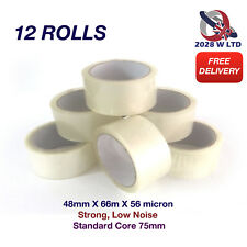 Clear Parcel Packing Tape Size 48mm*66m*56mic, Strong, Low Noise (12 Rolls)