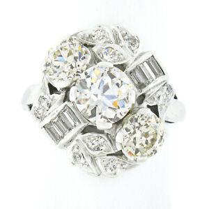 Antique Art Deco Platinum 3.35ctw GIA European Diamond Engagement Cocktail Ring