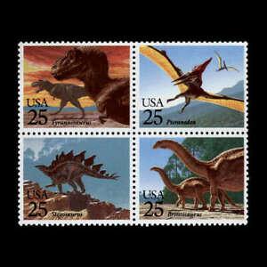 Dinosaurs MNH Block of 4 Stamps 1989 USA #2425b T-Rex Pteranodon Stegosaurus