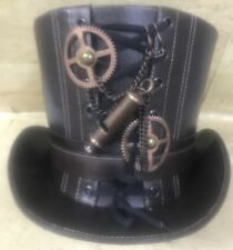 SDL Steampunk Brown Leather look top hat with Copper Cogs & Whistle In 58/59cm