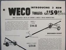 Original 1959 WECO Boat Trailer Sell Sheet w/Prices Peterborough Canoe Co Canada