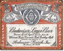 BUDWEISER LAGER BEER TIN SIGN