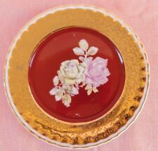 Polovi Parana Salad Plate Red & Gold with Roses