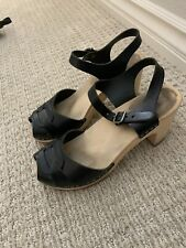 swedish hasbeens 38 7.5 Black Sandal Leather clogs Katja