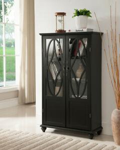 Black Finish Wooden Bookcase Curio Cabinet Glass Door Display Dining Storage