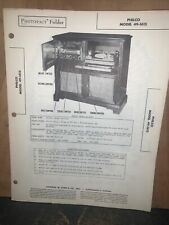 PHILCO  phono-radio Model 49-1615 -parts List- Original Copy 1949.