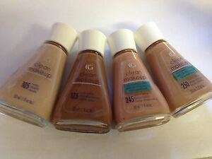 COVERGIRL CLEAN MAKEUP FACE FOUNDATION GLASS BOTTLE WHITE LID RARE  * CHOOSE *