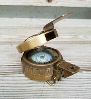 Solid Brass Nautical British Military Prismatic Pocket Compass Vintage Gift