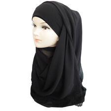 Floral Laser Cut Chiffon Muslim Hijab Scarf Shawl Head Wrap Plain Colors