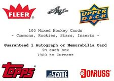 100 Mixed Hockey  Card Lot 1987 -Present + Auto, Relic, Jersey
