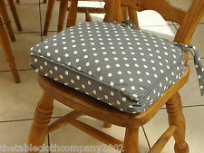 GREY & CREAM POLKA DOT DESIGN SEAT PAD / CHAIR PAD /  WITH REMOVABLE COVER