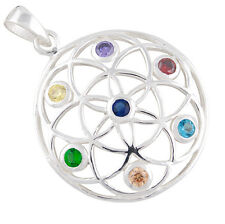Mandala, Blume des Lebens Silber Anhänger Yoga Mantra Meditation Lebensblume b22