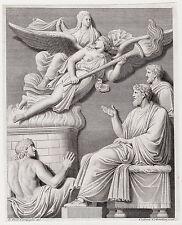"Neat 1700's CAMPIGLIA Engraving ""Apotheosis of Hadrian's Wife Sabina"" SIGNED COA"