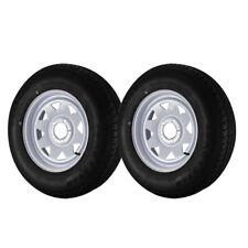 2 Pack - ST205/75R15 Loadstar Trailer Tire LRC on 5 Bolt White Spoke Wheel