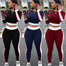 Womens Casual 2 Piece Outfits Sport Bodycon Crop Top Pants Set Hoodie Tracksuits