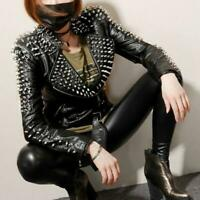 Womens Punk Spike Studded Rivet Shoulder PU Leather Jacket Motorcycle Biker Coat