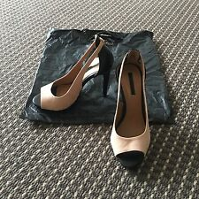 Zara Nude Suede And Black Heels Shoes Size 37 RRP$135