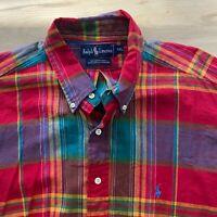 Ralph Lauren Men's XXL Madras Plaid Lightweight Cotton Red Button Down Shirt