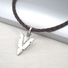 Silver Alloy Native American Spear Arrow Pendant Braided Brown Leather Necklace