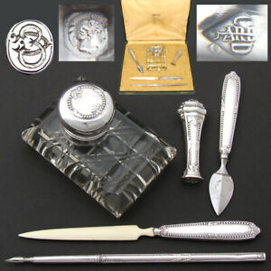 Antique French Sterling Silver 5pc Writer's Set, Cut Crystal Inkwell, Orig. Box