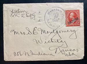 1903 Manila Philippines Cover To Wichita KS Usa