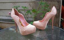"Liliana ""Emma"" Gold look Studded Pink Platform High Heel Pumps Size 7.5"