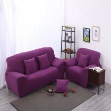 Spandex Textured Couch Stretch Sofa Cover Armchair Slipcover 2-Seater Purple