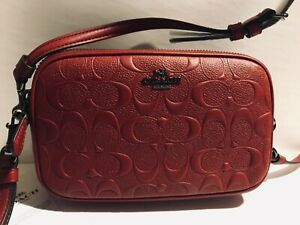 COACH EMB SIG DK/CHE  DOUBLE ZIPPER CROSSBODY CLUTCH RED pebbled leather NWT