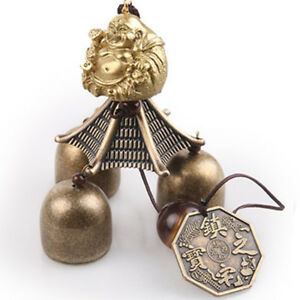 3-Bell Buddha Coin Lucky Feng Shui Room Garden Hanging Wind Chime Decor
